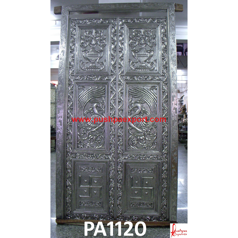 Silver Sheet Covered Wooden Carving Door