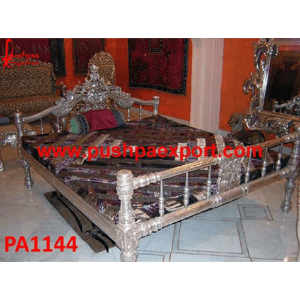 Silver Carved Maharani Bed
