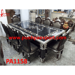 Silver Sheet Coating with Wood Polish Carving Dining Table and Chairs