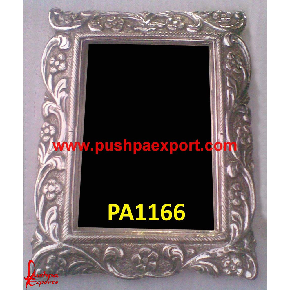 Floral Carving Silver Mirror Frame