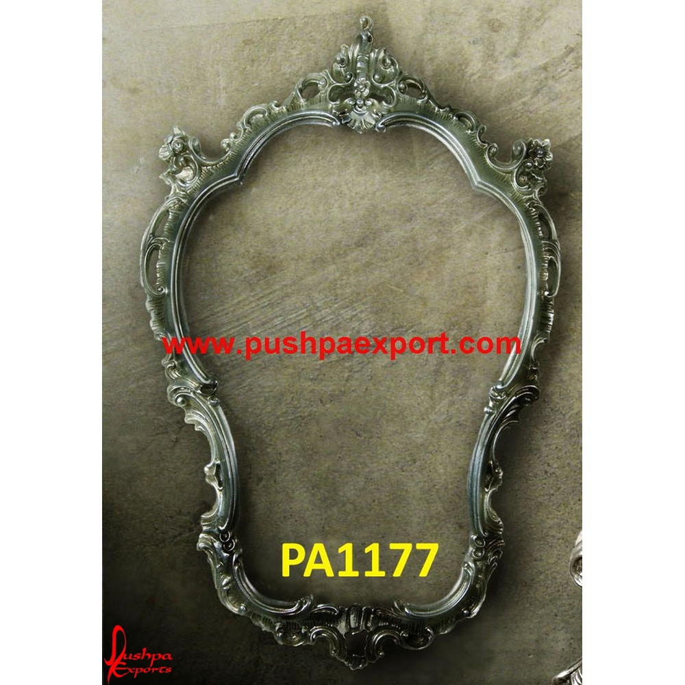 Carved Silver Garland Style Mirror Frame
