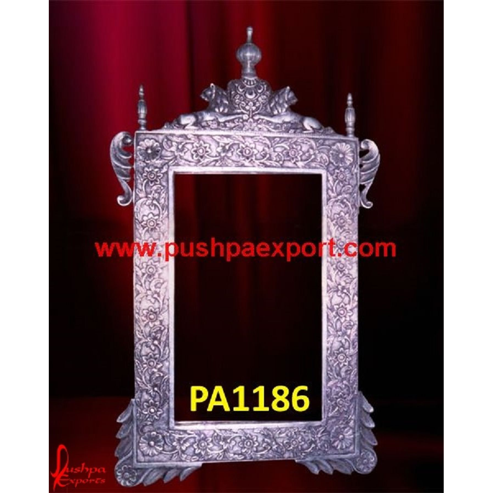 Carving Silver Mirror Frame with Lion Figure