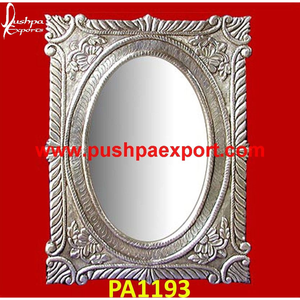Flower Carving Silver Mirror Frame