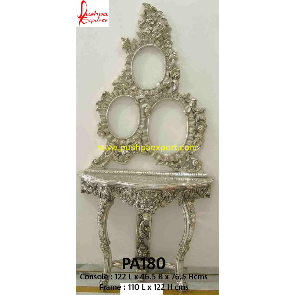 Carved Silver Multiple Frames and Console