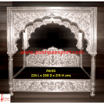 Silver Carved Canopy Bed