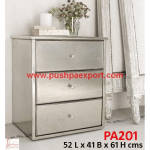 Silver Sheet Covered Side Cabinet