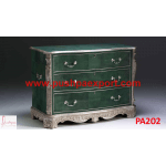 Silver and Leather Covered Chest of Drawers