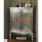 Silver Sheet Covered Wine Cabinet