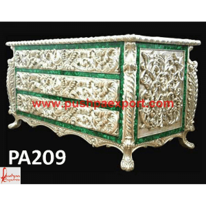 Silver with Malachite Inlay Carved Drawers Chest