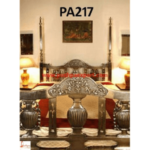 Silver Carved Four Posted Bed
