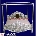 Silver Jali Carving Four Posted Bed