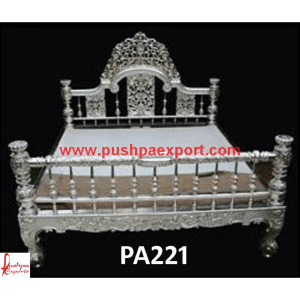 Floral Jaali Carving Silver Bed