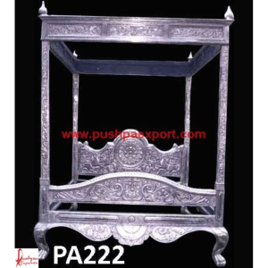 Silver Canopy Carving Bed