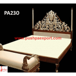 See Through Carved Silver and Wood Polished Bed
