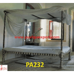 Silver Sheet Covered Wooden Carved Charpai