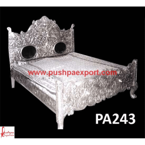 Silver Sheet Covered Wooden Heavily Carved Bed
