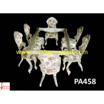 Hand Carved Silver Dining Table and Chairs