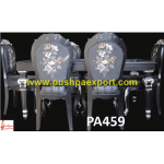 Silver Sheet Coating With Wood Polish Carving Dining Table & Chairs