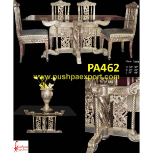 Silver Carving Dining Table Base with Glass Top and Chairs