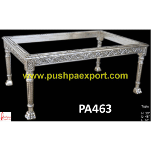 Hand Carved Silver Dining Table with Lion Legs
