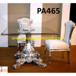 Silver Carved Dining Table Base with Glass Top and Chairs