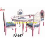 Oval Shaped Silver Dining Table and Chair