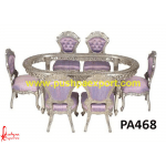 Silver Dining Table Oval Shaped with Chairs