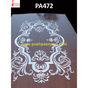 Silver Inlay on Wooden Carved Dining Table