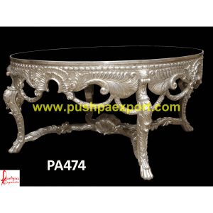 Silver Handcrafted Carved Dining Table