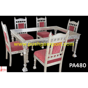 Lion Legs Silver Dining Table and Chairs