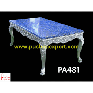Silver Carved Dining Table with Lapis Lazuli Table Top