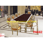 Peacock Design Carving Silver Dining Table and Chairs