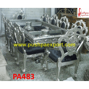 Silver 18th Century Carving Dining Table and Chairs