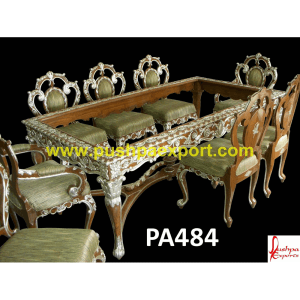 Silver Coating Carving Dining Table and Chairs