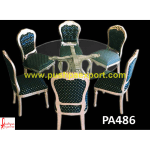 Carving Round Silver Dining Table and Chair