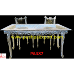 Jali Carving Silver Dining Table and Chairs