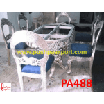 Rajasthani Carving Silver Dining Table and Chairs