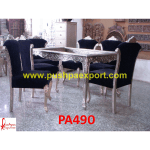 Modern Carving Silver Dining Table and Chairs