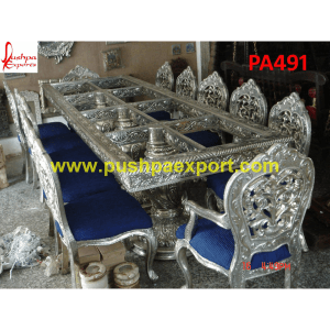 See Through Carving Silver Dining Table and Chairs