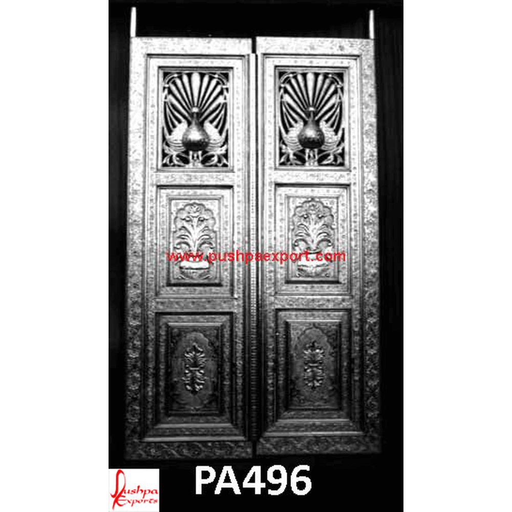Silver Sheet Covered Wooden Carved Door