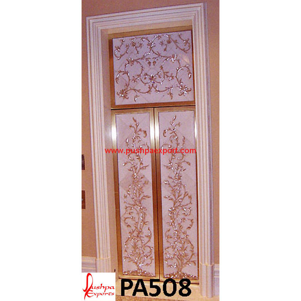 Floral Carving Silver Door with Wood Polish