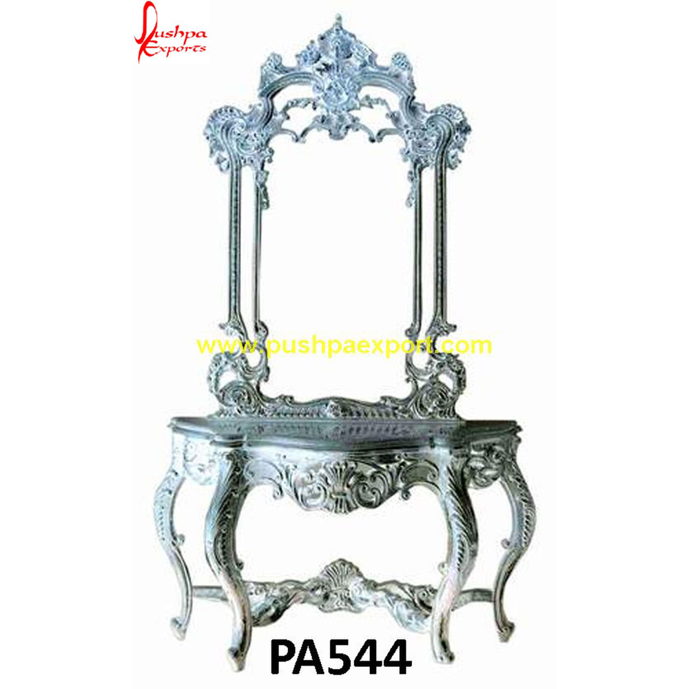 Carved Frame Console with Silver Sheet Covering