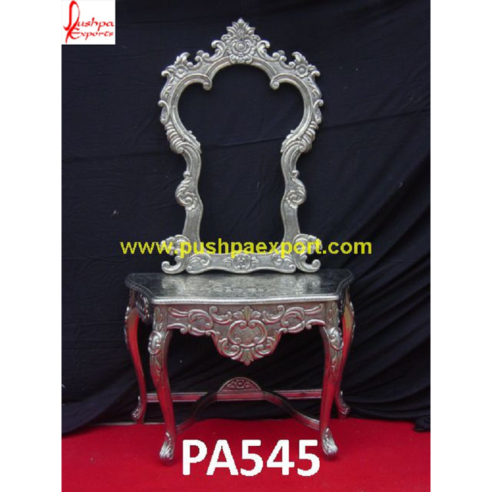 Carved Frame Console with Silver Sheet Coating