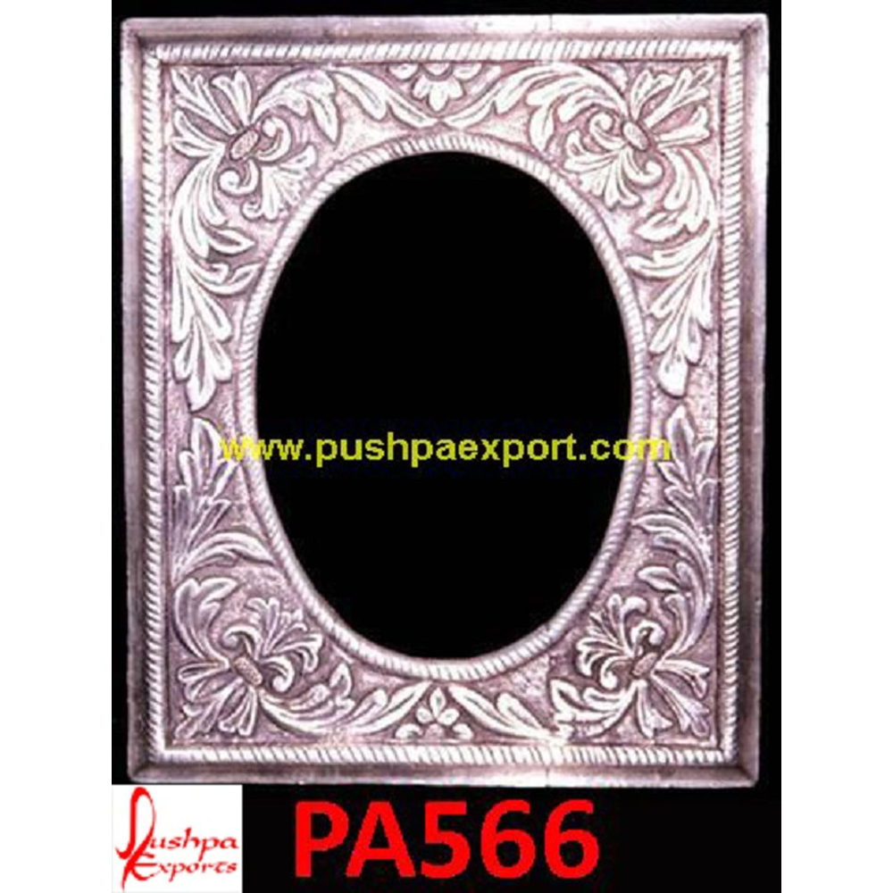 Carved Silver Oval Mirror Frame