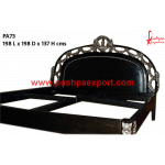 Silver with Wood Polish Carved Bed