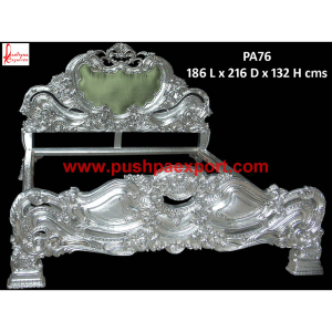 Silver Carved King Size Bed