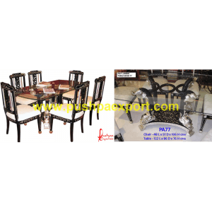 Silver Sheet Coated and Wood Polished Dining Table & Chairs