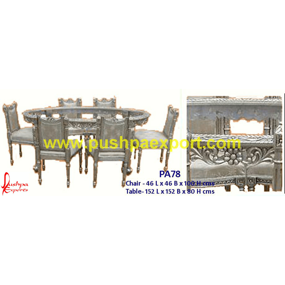 Silver Carved Oval Dining Table and Chairs