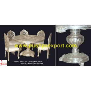 Carved Silver Round Dining Table and Chairs