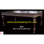 Silver Sheet and Wood Polished Dining Table